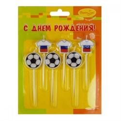Свечи д/торта Футбол Россия 2,5см 6шт(3+3) /Мфп - фото 9646