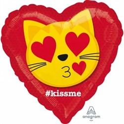 """Шар фольга 18"""" KISS ME Эмоции Смайл Кот влюбл S40 (An) - фото 9773"""