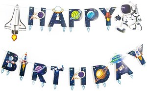 Гирлянда буквы Happy Birthday, Космос, 210 см /Дб