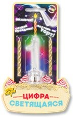 "Цифра LED ""1"" для торта и праздничного стола + 2 свечи"