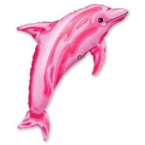 Шар фольга Фигура Дельфин розовый P30 (An)