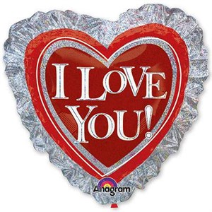 Шар фольга Фигура Джамбо ILY Сердце на серебре P45 (An)