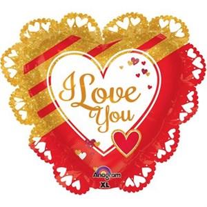 Шар фольга Фигура Джамбо Love Золотое и красное P30 (An)