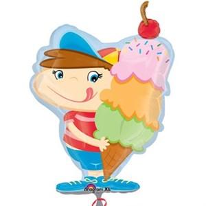 Шар фольга Фигура Мальчик с мороженым P35 (An)