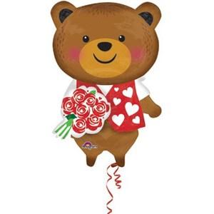Шар фольга Фигура Медведь с розой P45 (An)