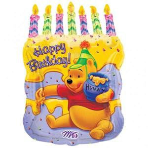 Шар фольга Фигура НВ Винни торт и свечи P35 (An)