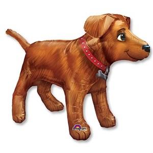 Шар фольга Фигура Собака золотистая Р45 (An)