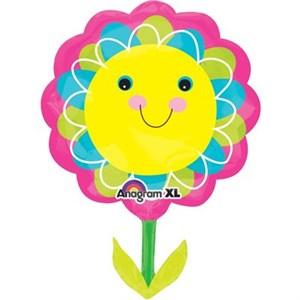 Шар фольга Фигура Цветок улыбающийся желтый P35 (An)