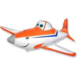 Шар фольга Фигура Самолет оранжевый 11 (FM)