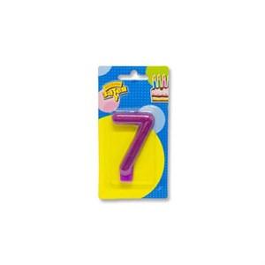 """Свеча -цифра """"7"""" Блестящая 7,6см /V"""