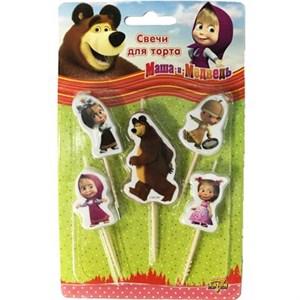 Свечи д/торта на пиках Маша и Медведь 5шт /V