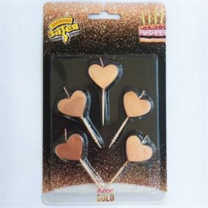 Свечи д/торта на пик Сердца Роз зол 5шт /V