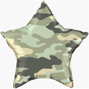"""Шар фольга 18"""" Камуфляж зеленый звезда (Р)"""