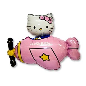 Шар фольга Фигура Hello Kitty самолет розов 11 (FM)