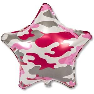 """Шар фольга 18"""" Камуфляж розовый звезда (Р)"""