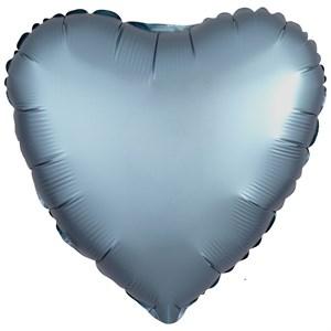"""Шар фольга 18"""" СЕРДЦЕ Сатин Steel Blue (An)"""