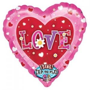 Шар фольга Фигура Джамбо Муз Love Сердца и цветы P60