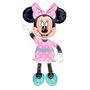 Шар фольга Фигура Ход Минни платье розовое в горошек P80 (An)