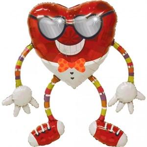 Шар фольга Фигура Ходячий Сердце в очках P80 (An)