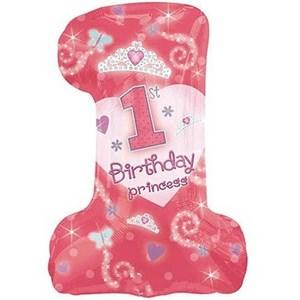 Шар фольга Фигура 1-й День Рожденья девочка P30 (An)