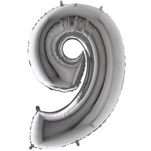 "Шар фольга Фигура ЦИФРА 9 Silver 40"" (Gr)"
