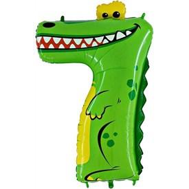 "Шар фольга Фигура ЦИФРА 7 Крокодил 36"" (Gr)"