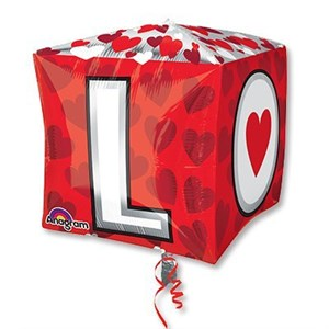 "Шар фольга 3D Куб 15"" L-O-V-E G20 (An)"