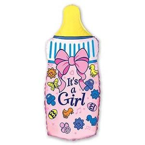 Шар фольга Фигура Бутылка розовая 11 (FM)