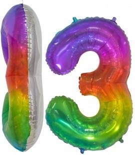 Шар фольга фигура (34''/86 см) Цифра, 3, Мармеладный леденец, Градиент, в уп /Db
