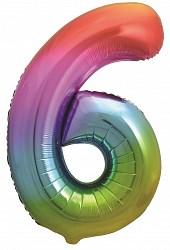 "Шар фольга фигура Цифра 6 Яркая радуга, Градиент 34"" /Db"