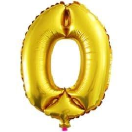 Шар фольга с клапаном (16''/41см) Мини-цифра, 0, Золото (воздух) /Fal