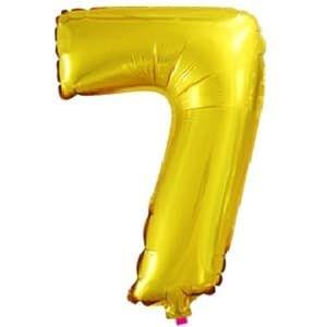 Шар фольга с клапаном (16''/41см) Мини-цифра, 7, Золото (воздух) /Fal