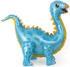Шар (39''/99 см) Ходячая Фигура, Динозавр Стегозавр, Голубой, 1 шт. (воздух) /К
