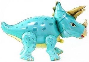 Шар фольг (36''/91 см) Ходячая Фигура, Динозавр Трицератопс, Бирюзовый, 1 шт. (воздух) /К