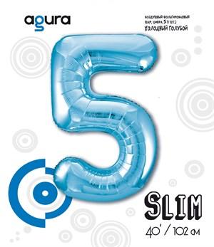 Шар фольга фигура 40''/102 см ЦИФРА 5 Slim Голубой (Ag)