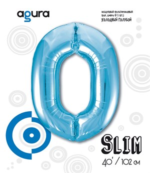 Шар фольга фигура 40''/102 см ЦИФРА 0 Slim Голубой (Ag)