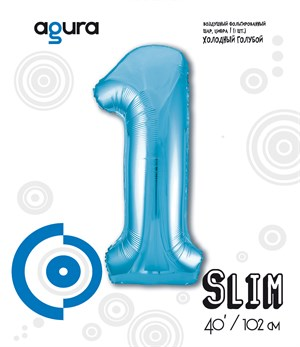 Шар фольга фигура 40''/102 см ЦИФРА 1 Slim Голубой (Ag)