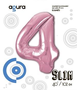 Шар фольга фигура 40''/102 см ЦИФРА 4 Slim Розовый фламинго (Ag)