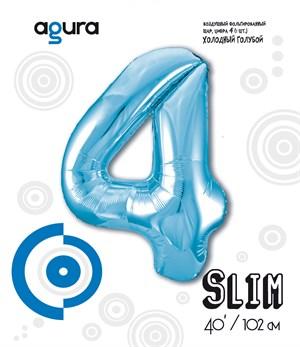Шар фольга фигура 40''/102 см ЦИФРА 4 Slim Голубой (Ag)