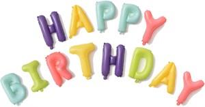 """Набор шаров-букв (16''/41 см) Мини-Надпись """"Happy Birthday"""", Макарунс, Ассорти (воздух) /Db"""