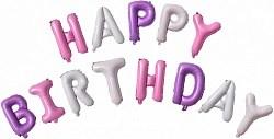 """Набор шаров-букв (16''/41 см) Мини-,""""Happy Birthday"""", для девочки (воздух) /Db"""