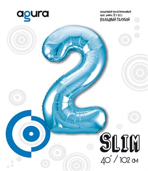 Шар фольга фигура 40''/102 см ЦИФРА 2 Slim Голубой (Ag)