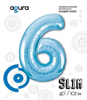 Шар фольга фигура 40''/102 см ЦИФРА 6 Slim Голубой (Ag)