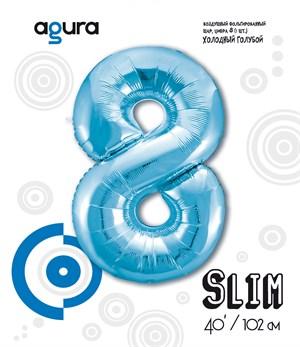 Шар фольга фигура 40''/102 см ЦИФРА 8 Slim Голубой (Ag)