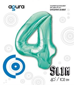 Шар фольга фигура 40''/102 см ЦИФРА 4 Slim Бискайский зеленый (Ag)