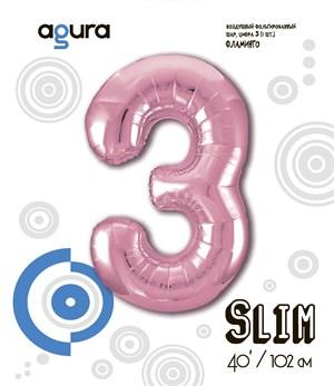 Шар фольга фигура 40''/102 см ЦИФРА 3 Slim Розовый фламинго (Ag)