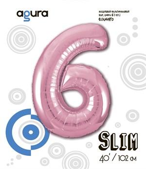 Шар фольга фигура 40''/102 см ЦИФРА 6 Slim Розовый фламинго (Ag)