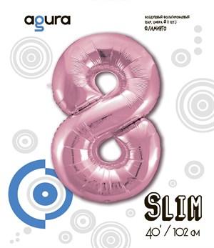 Шар фольга фигура 40''/102 см ЦИФРА 8 Slim Розовый фламинго (Ag)