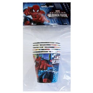 Стакан бум Человек-Паук 200мл 6шт.