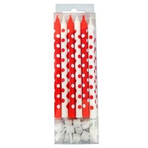 Свечи д/торта Красные и белые в горошек 12шт с держателями 12см /Мфп